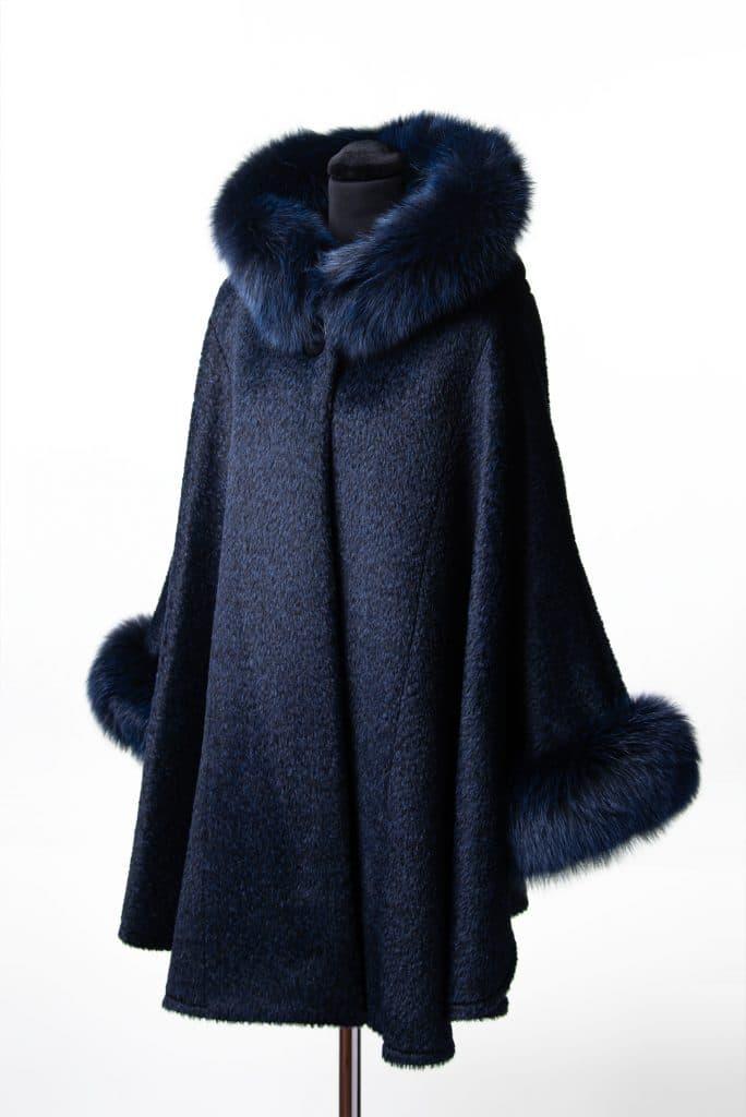 Royal Blue Alpaca Medum Hooded Cape with Tone Fox Trim