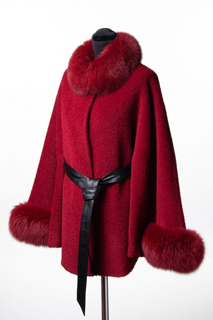 Red Alpaca Short Belted Cape with Tone Fox Trim