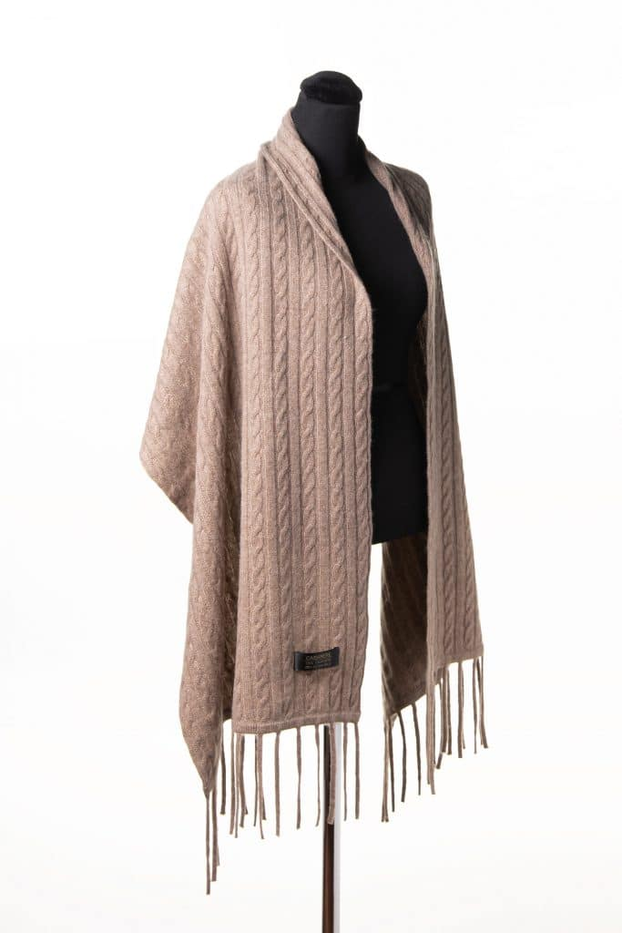 100% Cashmere Knit Shawl in Taupe