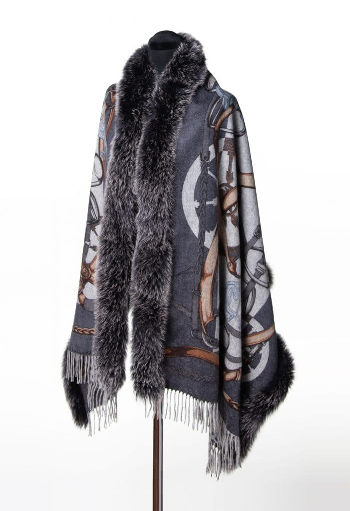 100% Cashmere Printed Shawl with Fox Trim in Chain