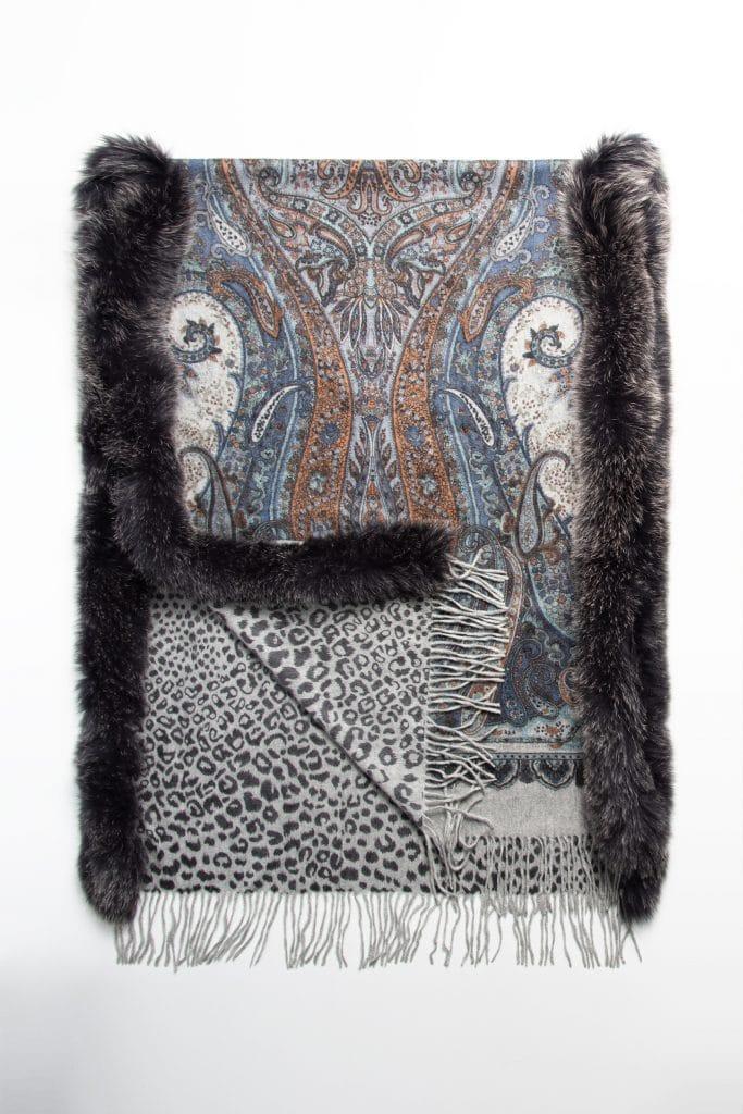 100% Cashmere Printed Shawl with Fox Trim in Grey