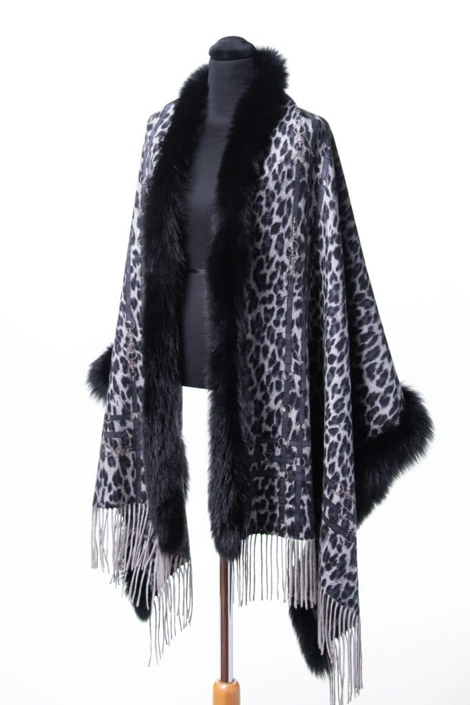 100% Cashmere Printed Shawl in Houndstooth and Black Fox