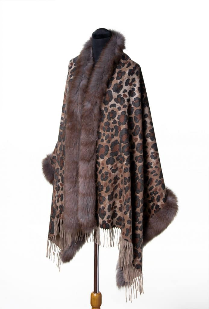 100% Cashmere Printed Shawl with Fox Trim in Leopard