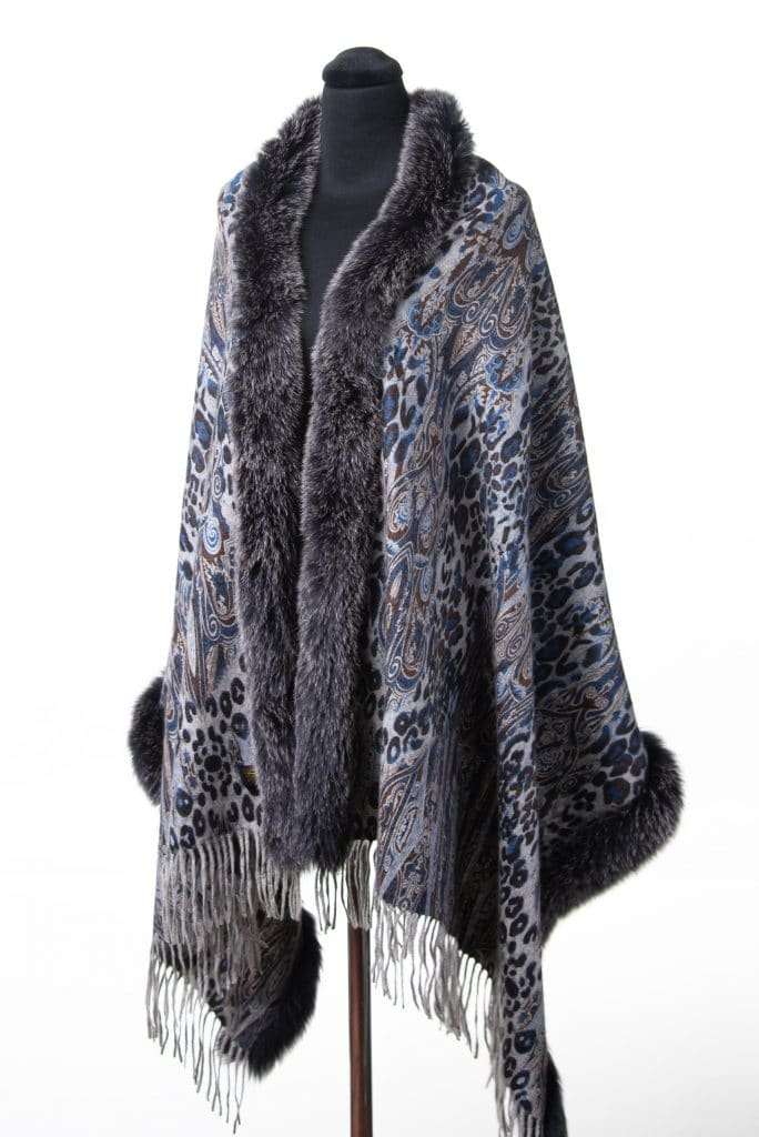 100% Cashmere Printed Shawl in Moonlight and Black Snowtop Fox