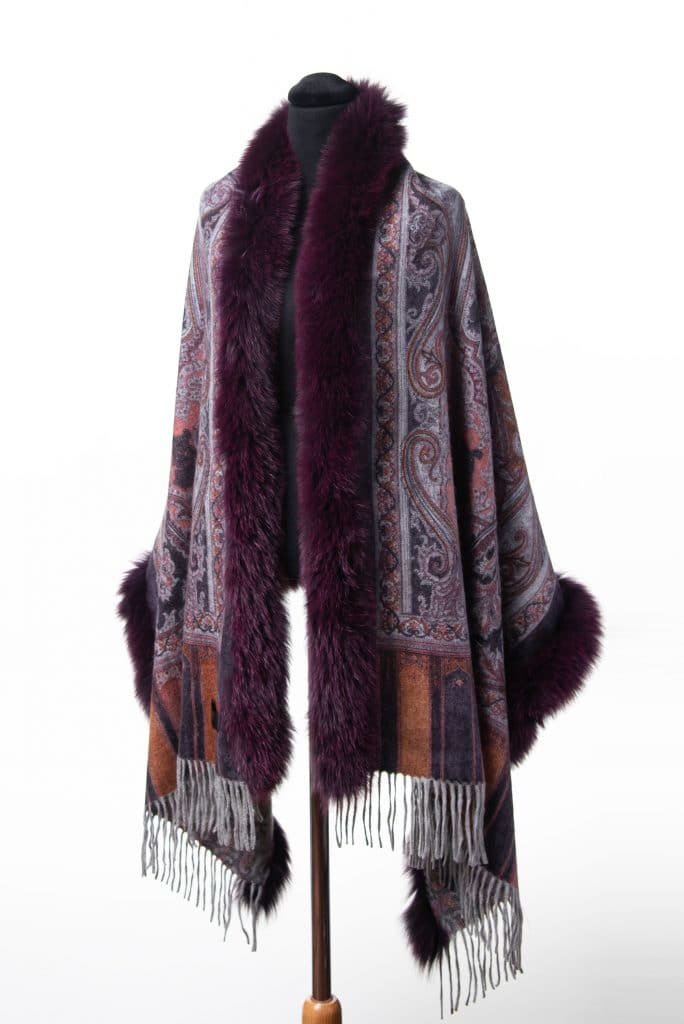 100% Cashmere Printed Shawl in Mulberry and Tone Fox