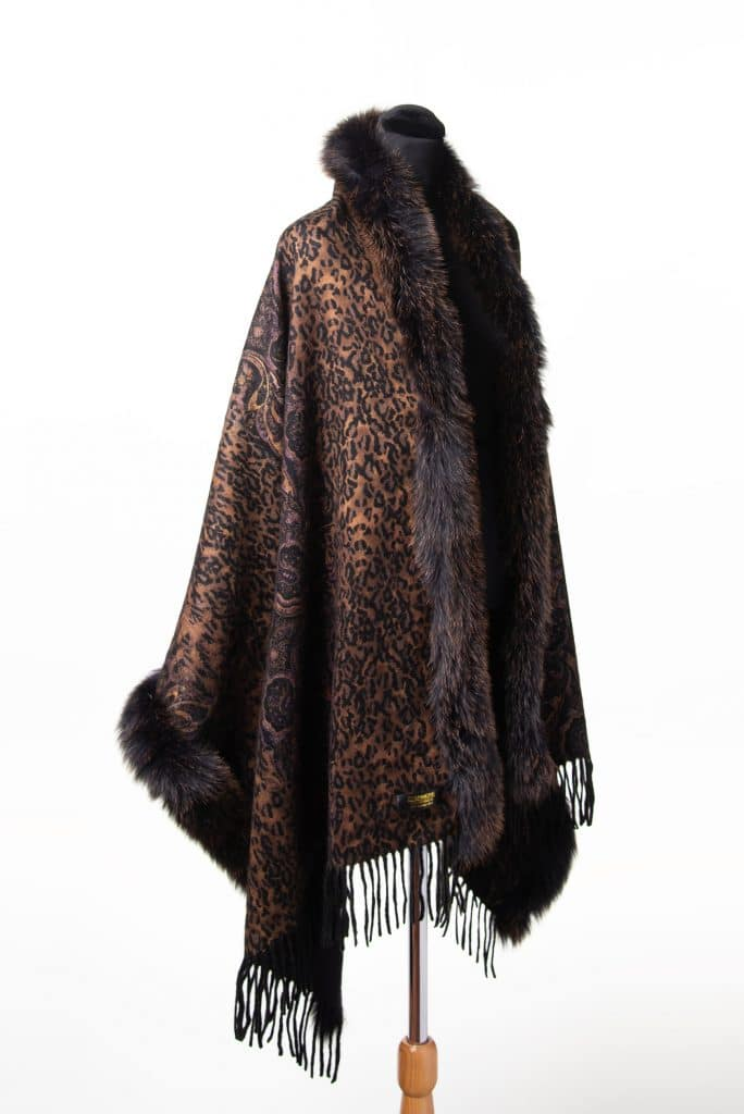 100% Cashmere Printed Shawl in Rust and Brown Snowtop
