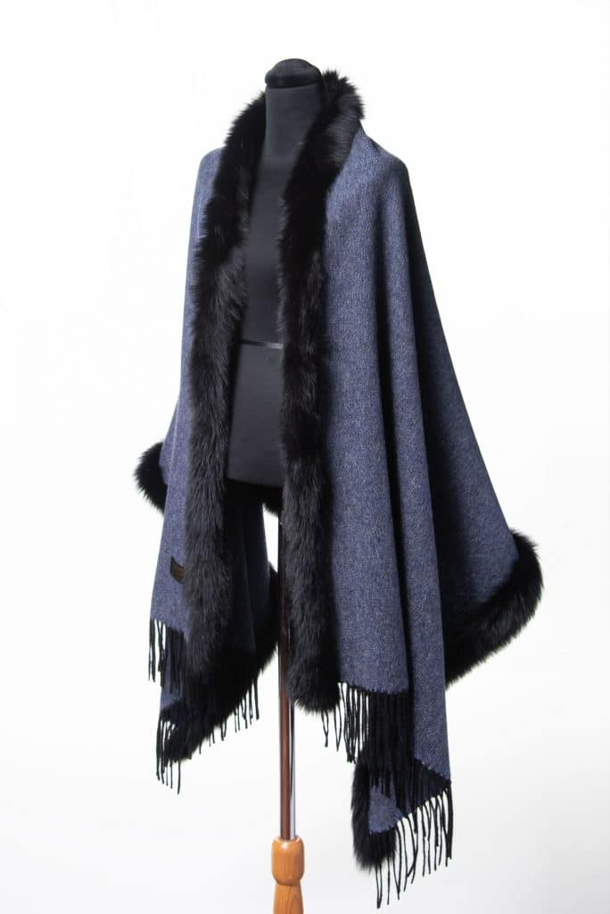100% Cashmere Shawl in Demin Color with Black Fox