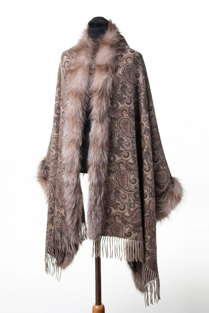 100% Cashmere Printed Shawl in Walnut and Amber Fox