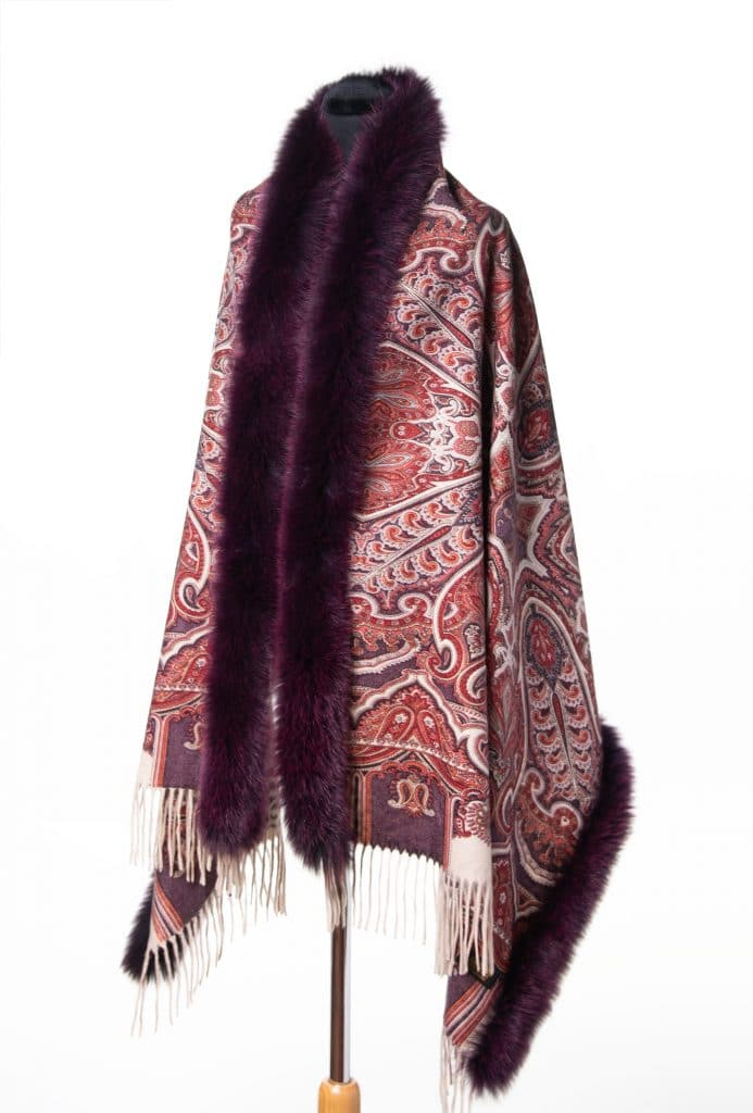 100% Cashmere Printed Shawl in Wine with Tone Fox