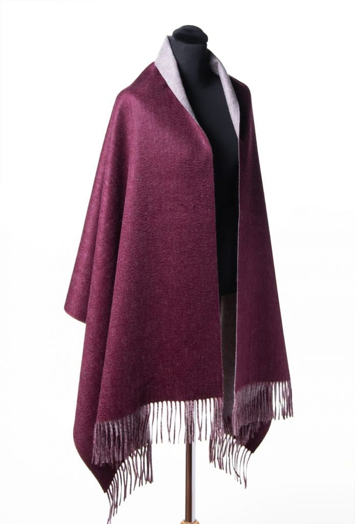 100% Cashmere Shawl Solid Color in Double Wine