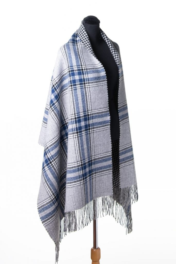 100% Cashmere Printed Shawl in Checkered Houndtooth