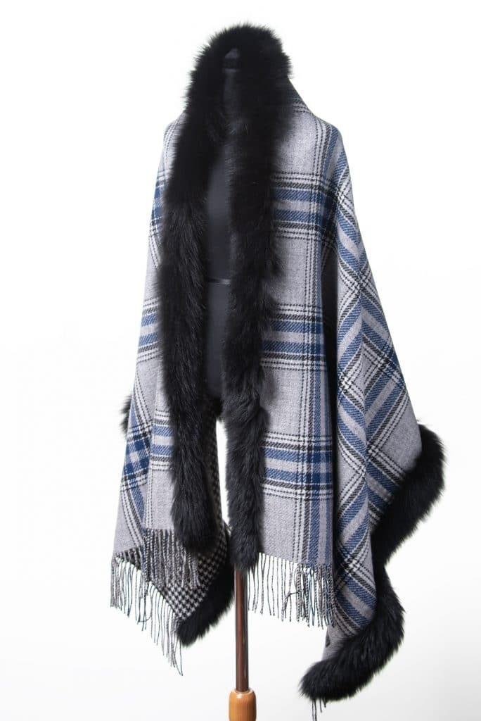 100% Cashmere Printed Shawl with Fox Trim in Checkered Houndstooth and Black Fox