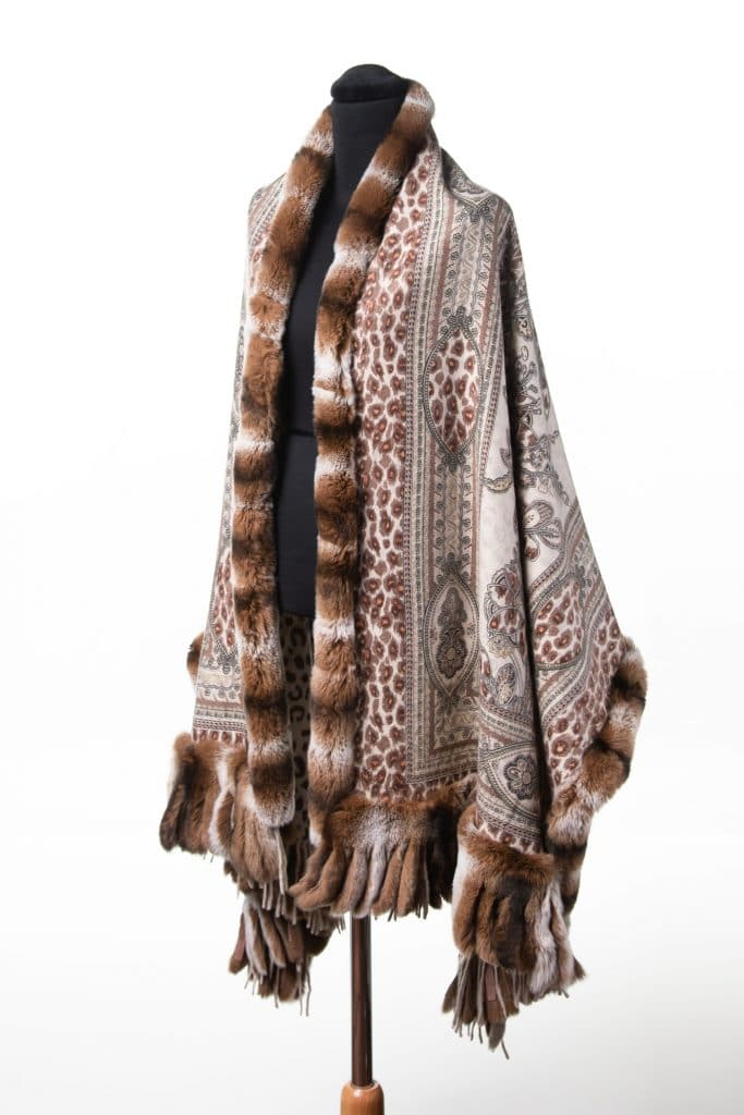 100% Cashmere Printed Shawl with Rex Trim in Beige Color