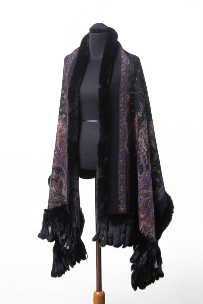 100% Cashmere Printed Shawl with Rex Trim in Black Purple Color