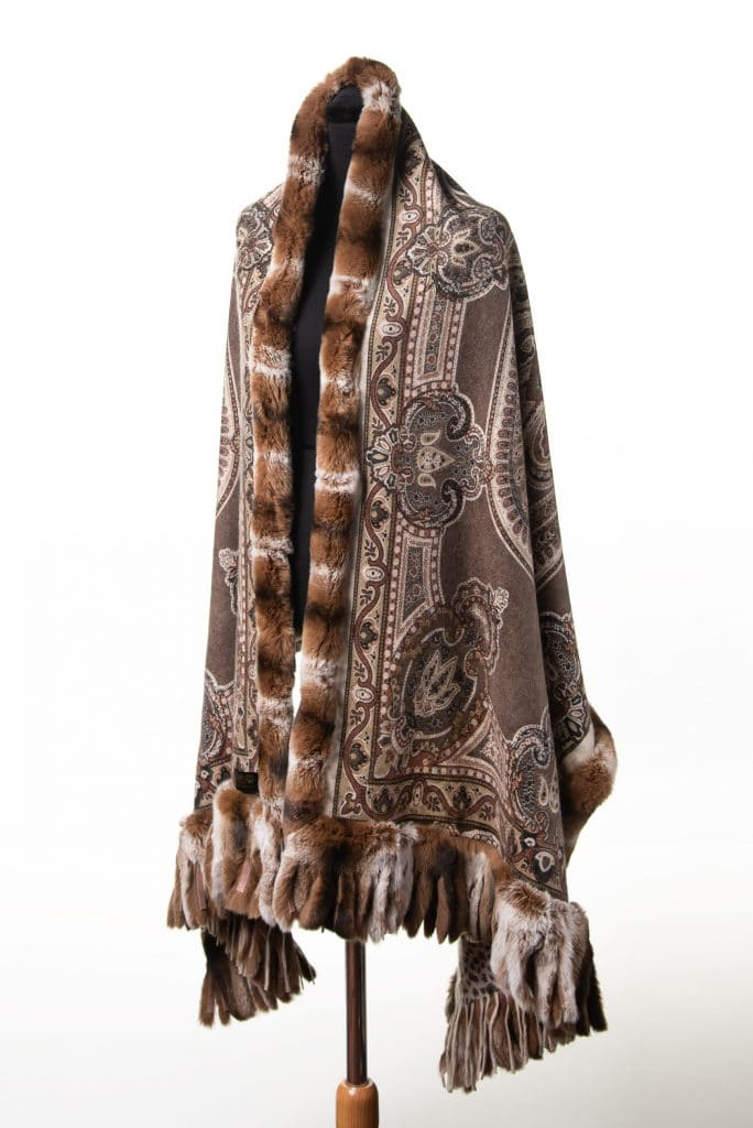 100% Cashmere Printed Shawl with Rex Trim in Brown Color