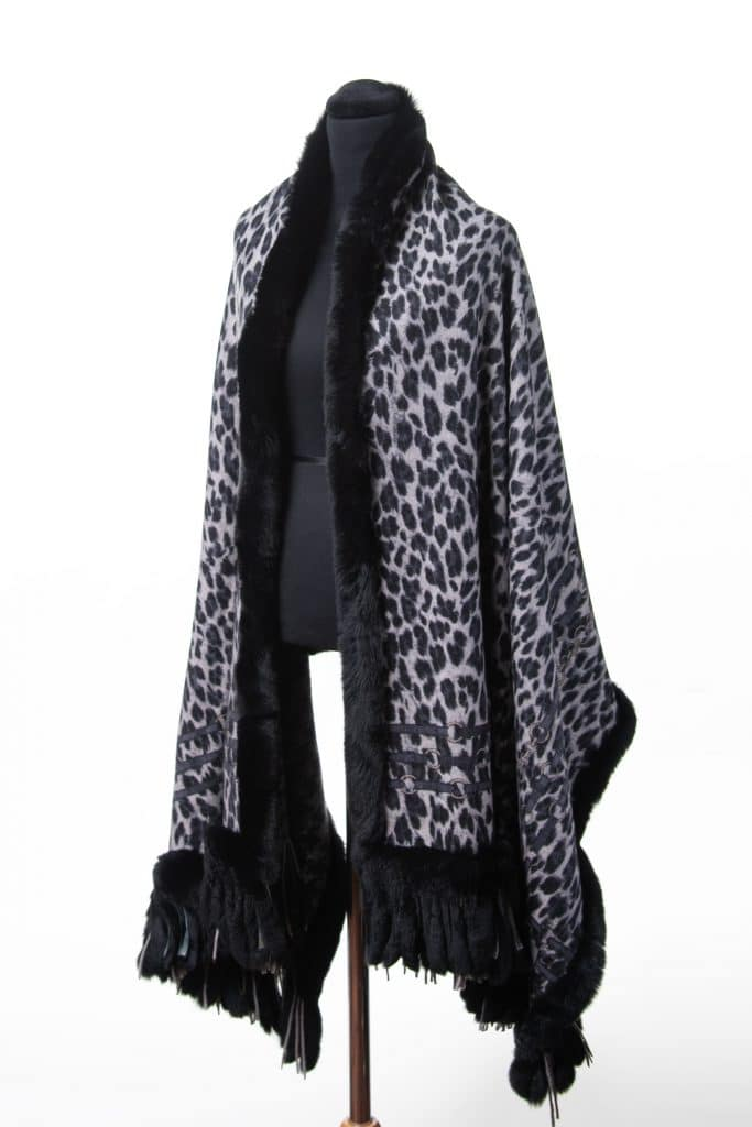 100% Cashmere Printed Shawl with Rex Trim in Houndstooth Color