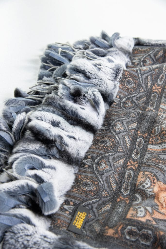 100% Cashmere Printed Shawl with Rex Trim in Marble