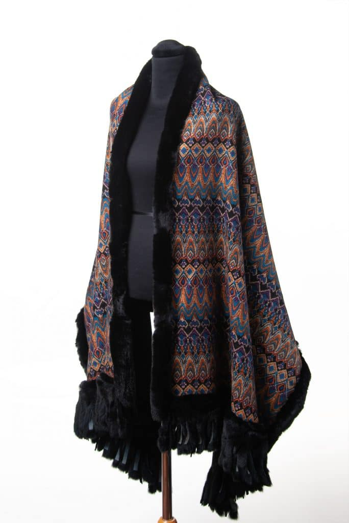 100% Cashmere Printed Shawl with Rex Trim in Rainbow Black Color