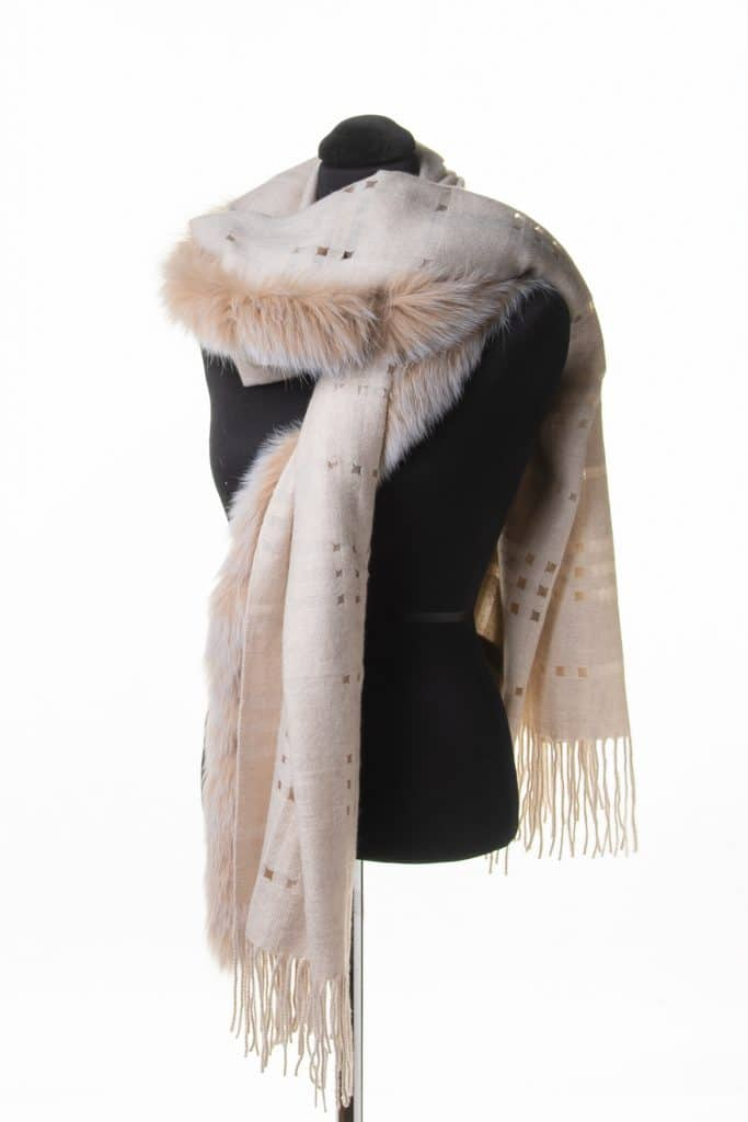 100% Light Cashmere with Holes and Fox Trim Shawl on a Single Side