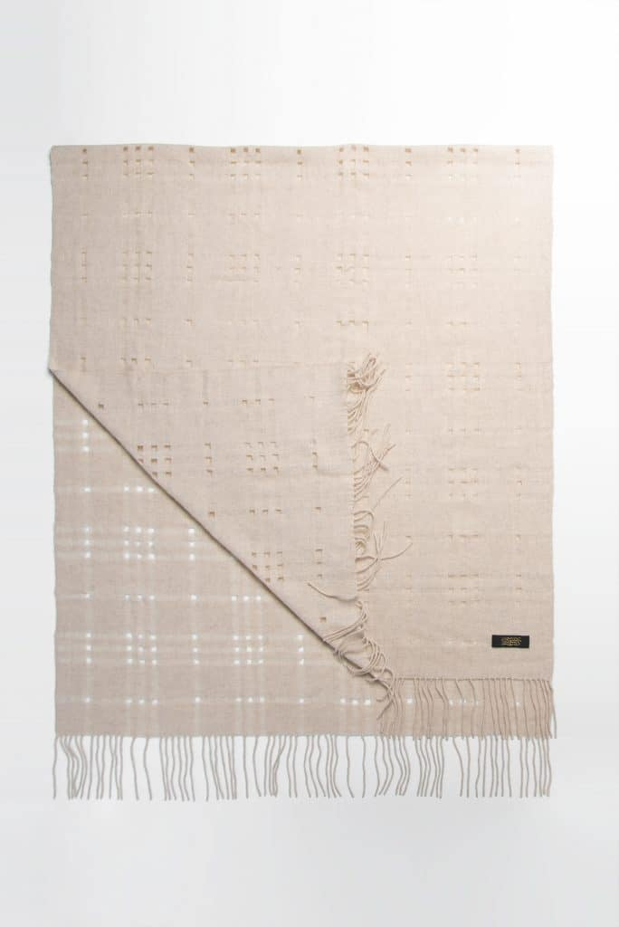100% Cashmere Shawl with Holes in Beige Color