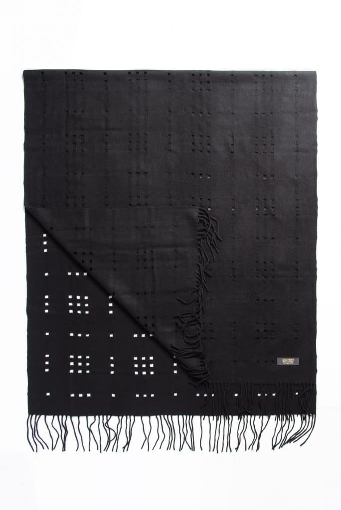 100% Cashmere Shawl with Holes in Black Color
