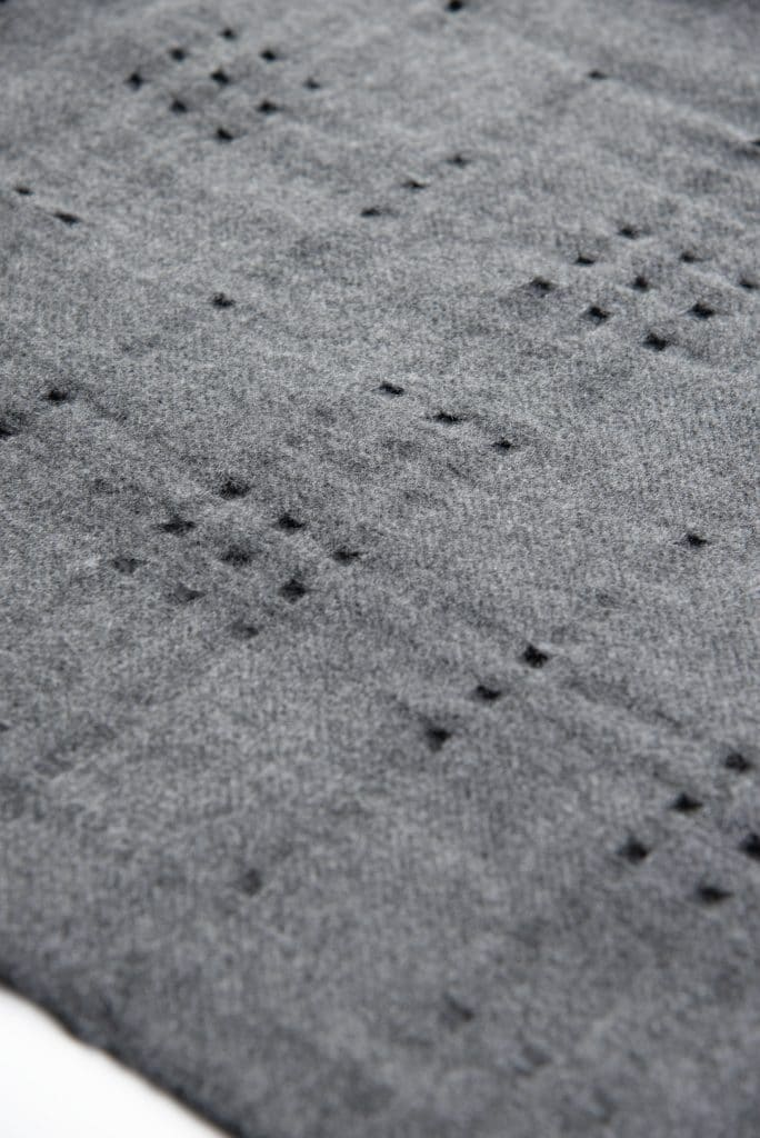 100% Cashmere Shawl with Holes in Grey Color