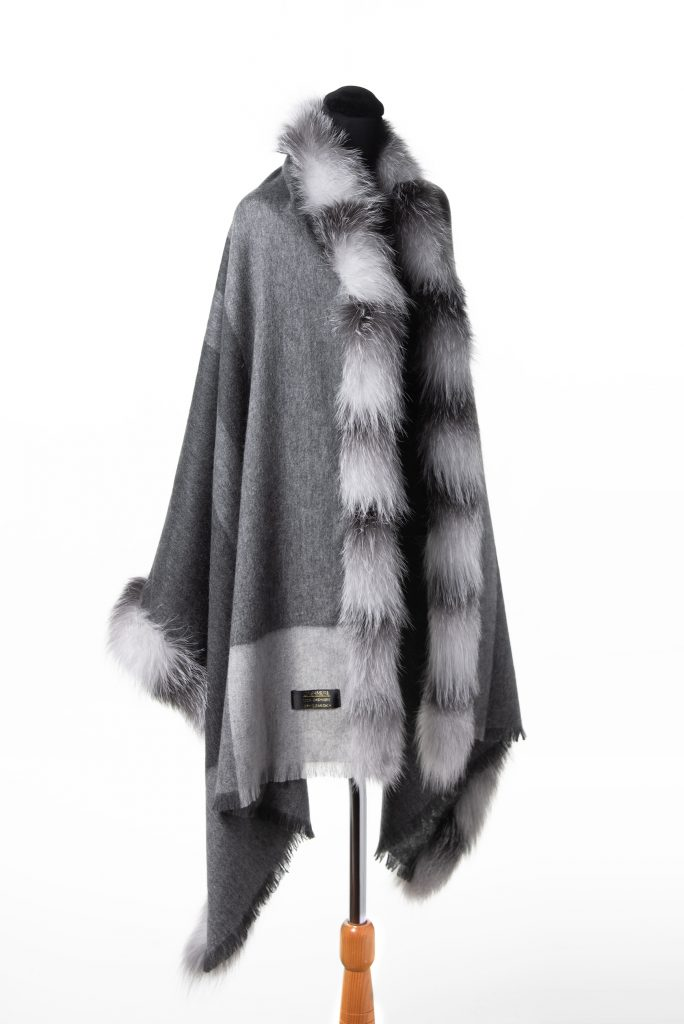 100% Cashmere Light Cashmere with Double Fox Trim in Light Grey