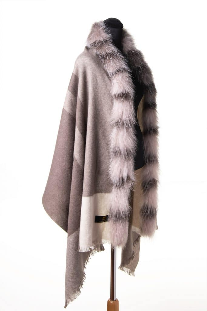 100% Cashmere Printed Shawl with Fox Trim in Taupe Color