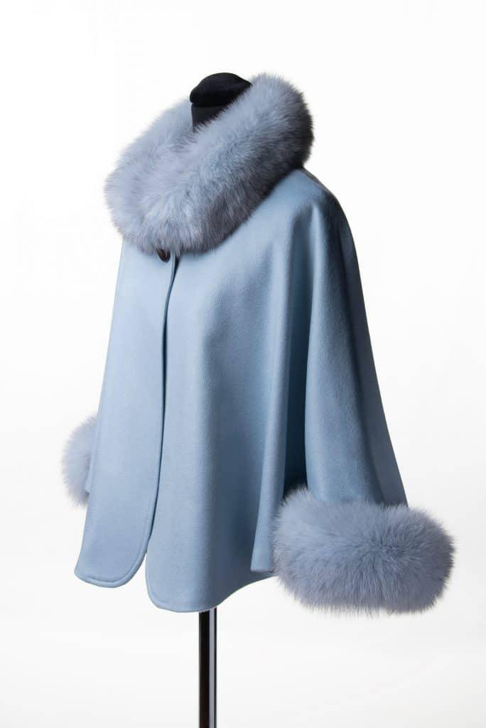 Baby Blue 100% Cashmere Caplet with Fox Trim