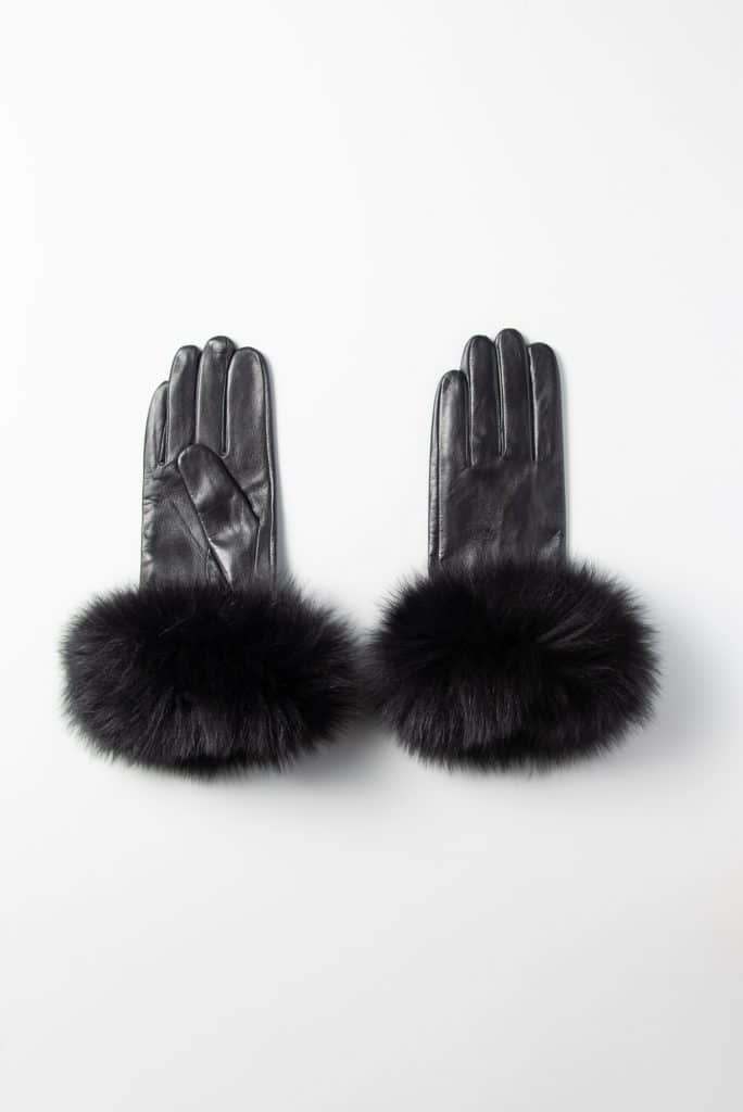 Leather Gloves with Fox Trim
