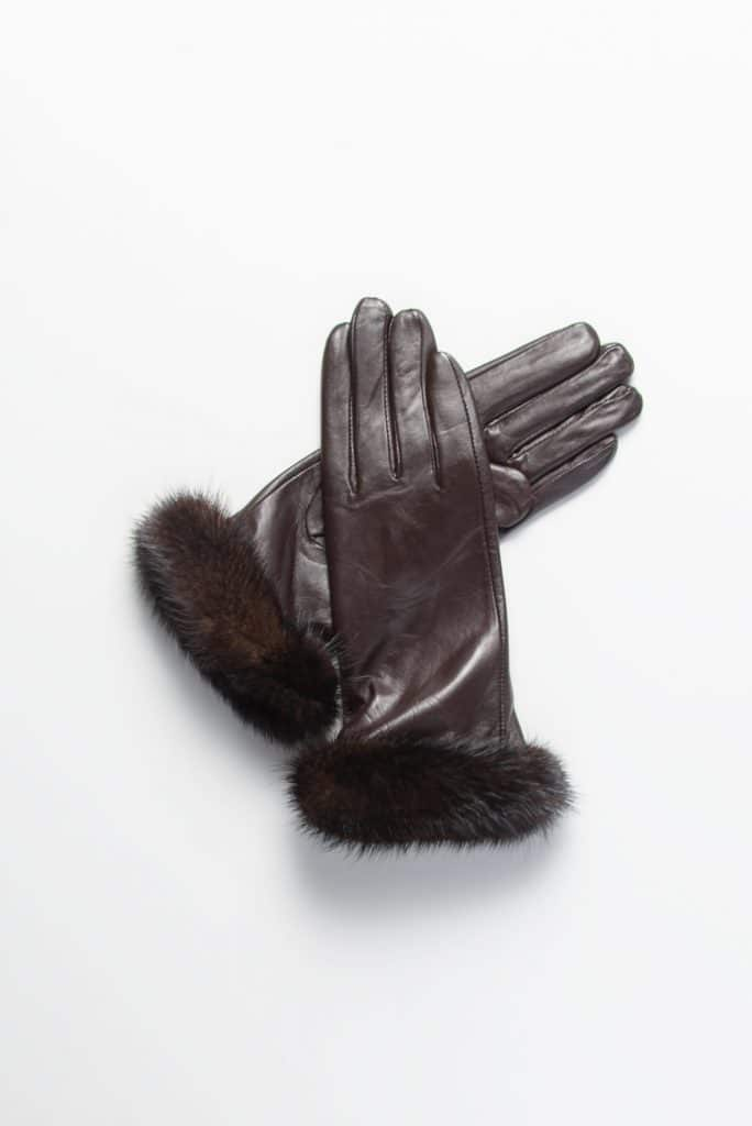 Leather Gloves with Mink Trim