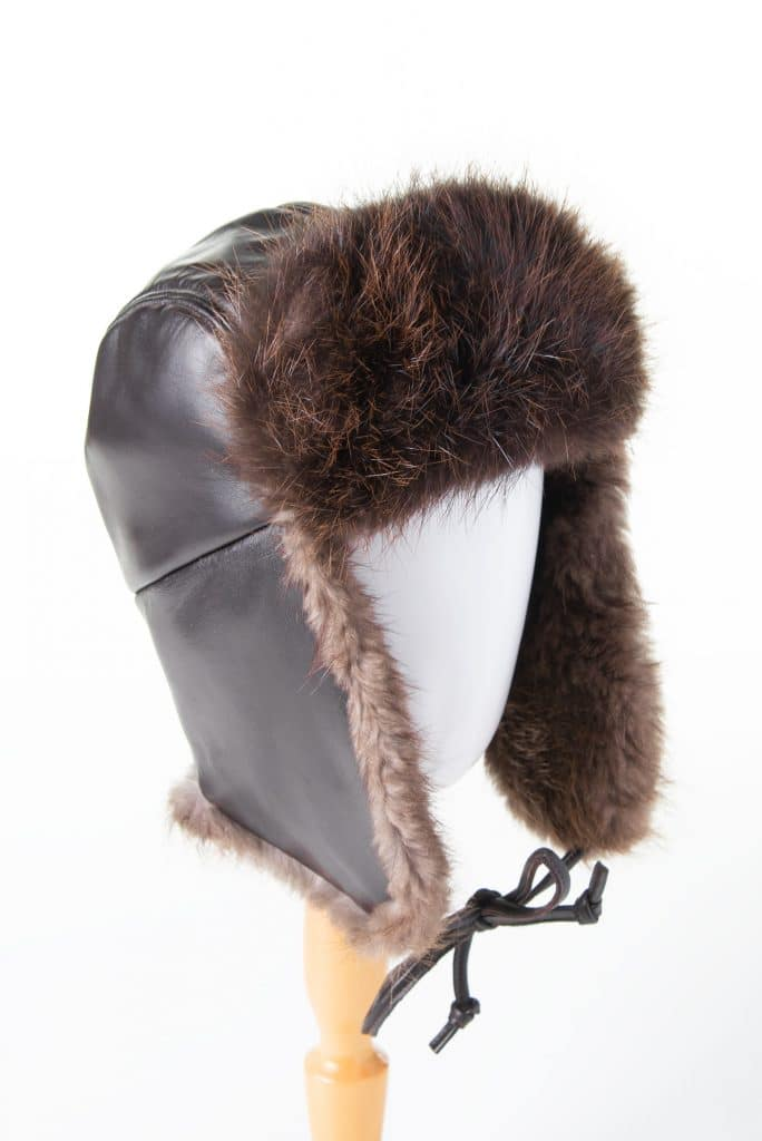 Traditional Trapper (Aviator) Hat with Leather and Beaver Trim
