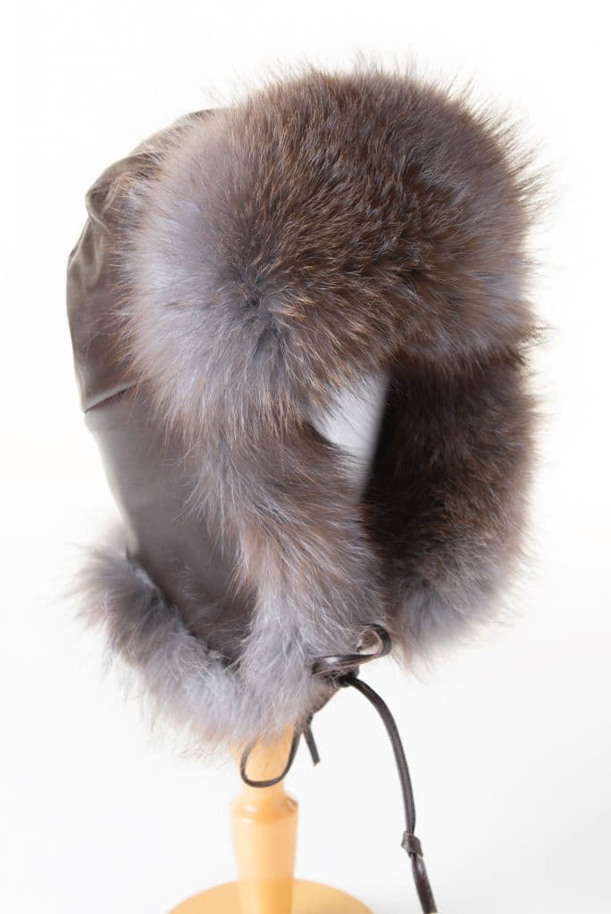 Traditional Trapper (Aviator) Hat in Leather and Fox Trim
