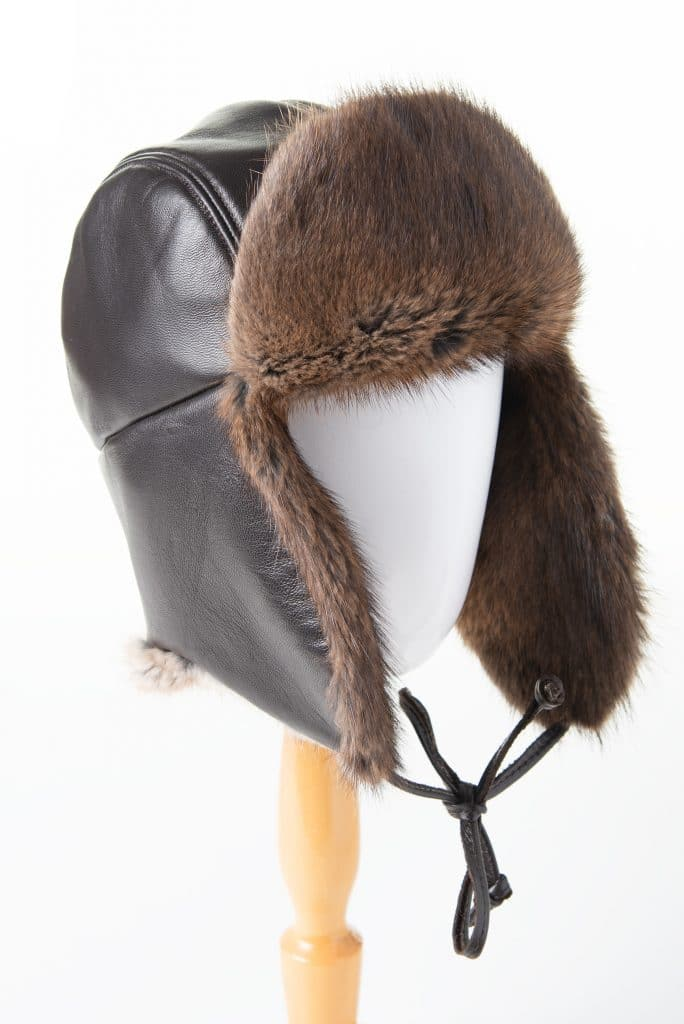 Traditional Trapper (Aviator) Hat in Leather and Muskrat Trim
