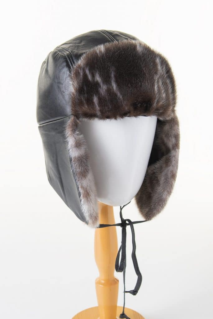 Traditional Trapper (Aviator) Hat in Leather and Seal Trim