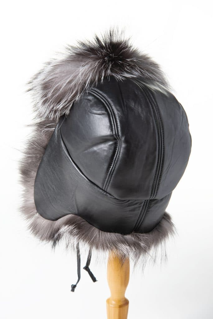 Aviator Silver Fox and Leather Hat