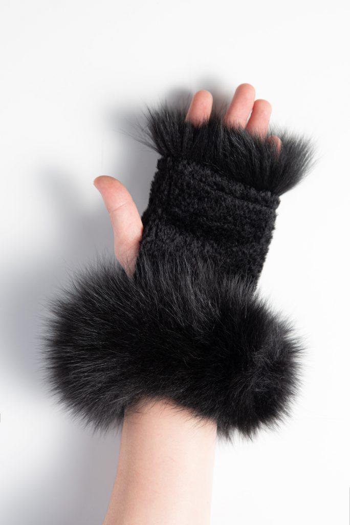 Suri Alpaca Texting Gloves with Fox Trim