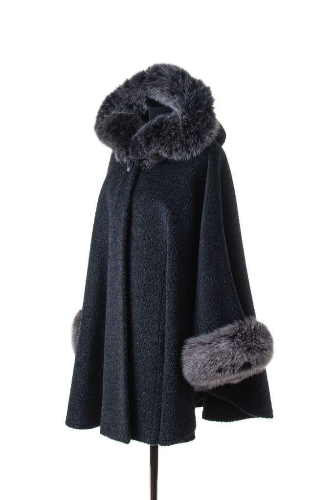 Alpaca Hooded Cape with Fox trim