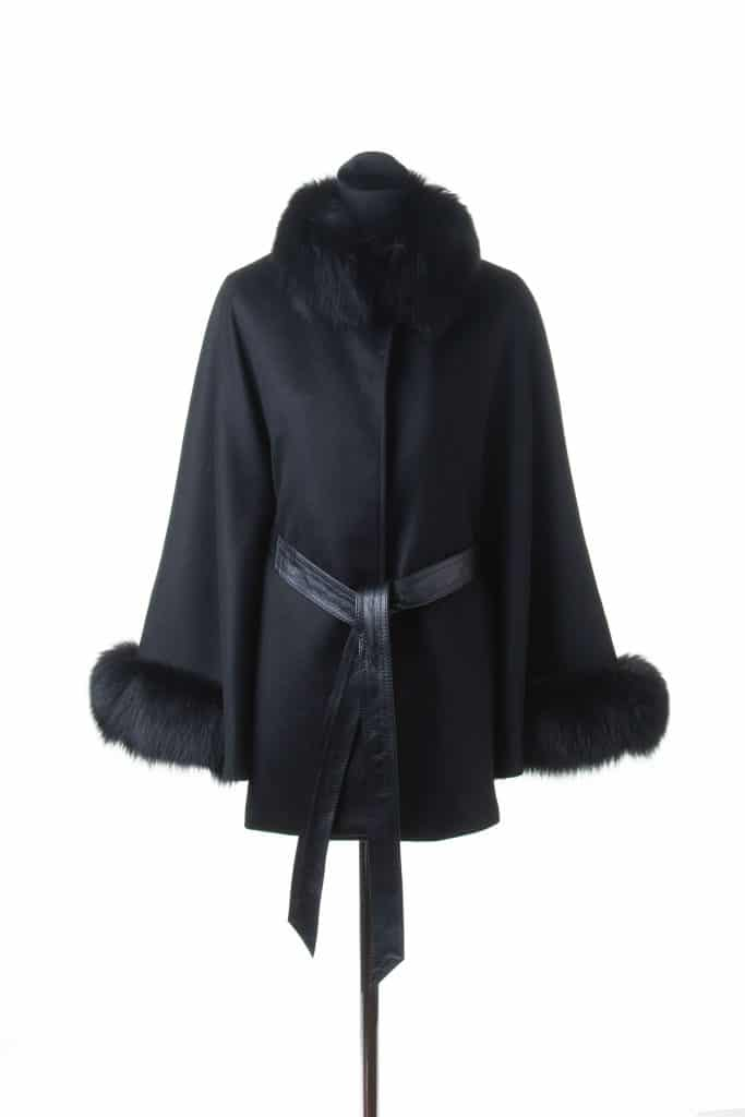 Belted Cape with Fox Trim